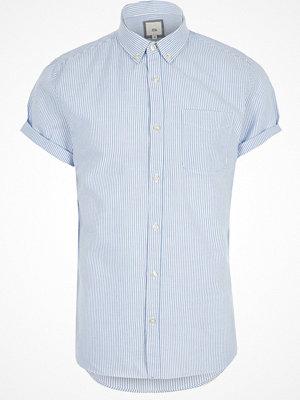 Skjortor - River Island Blue stripe short sleeve slim fit shirt