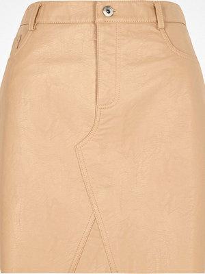 River Island Nude faux leather mini skirt