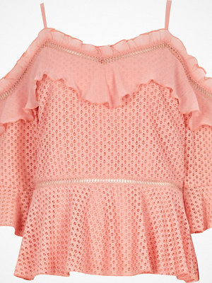 River Island Peach lace frill cold shoulder peplum top