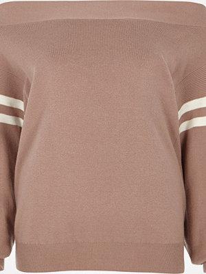River Island Light Pink stripe sleeve bardot knit jumper