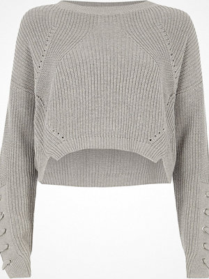River Island Grey lace-up eyelet sleeve cropped jumper