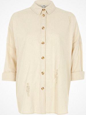 River Island Cream wash distressed denim shirt