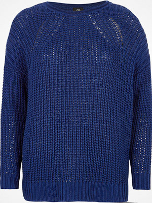 River Island Blue rolled crew neck fisherman jumper
