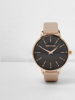Klockor - River Island Beige strap black round face watch