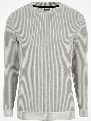 Tröjor & cardigans - River Island Grey rib muscle fit crew neck jumper
