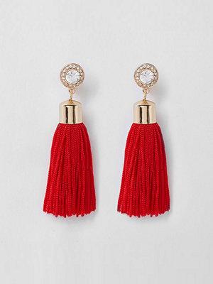 River Island örhängen Red tassel drop clip on earrings