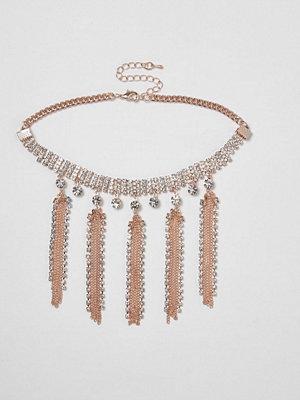 River Island halsband Rose Gold tone diamante tassel choker