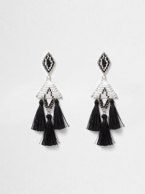 River Island örhängen Black mono beaded tassel drop earrings