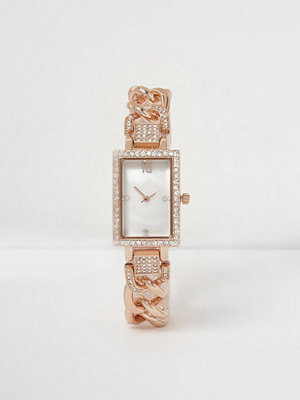 Klockor - River Island Rose Gold tone diamante rectangle watch
