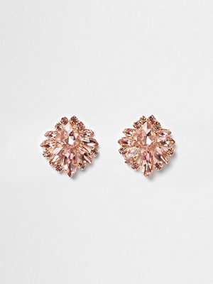 River Island örhängen Rose Gold tone jewel cluster earrings