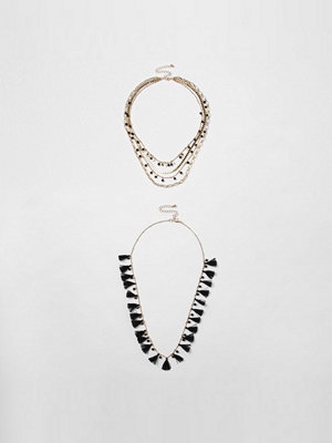 River Island halsband Black tassel bead multilayer necklace set