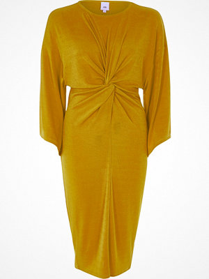 River Island Yellow knot front midi dress