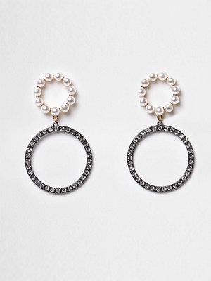 River Island örhängen Silver gunmetal double diamante hoop earrings