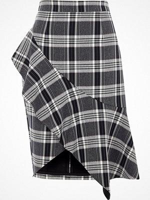 River Island Navy check asymmetric frill pencil skirt