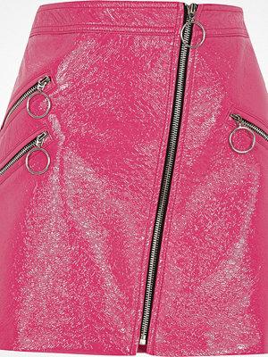 River Island Pink vinyl hoop zip mini skirt
