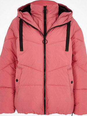 River Island Pink double layer hooded puffer jacket