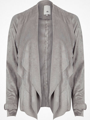 River Island Light Grey faux suede fallaway jacket