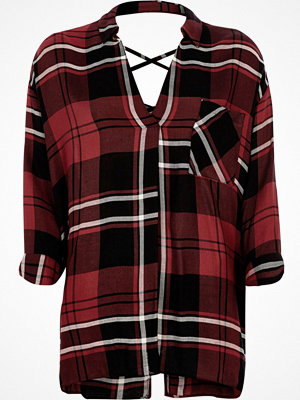 River Island Red check cross back blouse