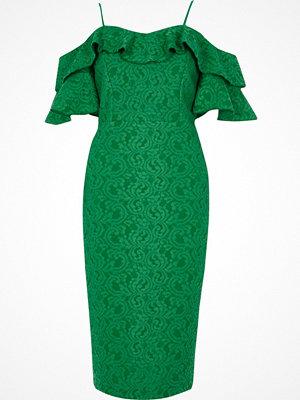 River Island Bright Green lace bardot frill midi dress