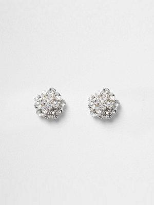 River Island örhängen Silver tone diamante cluster stud earrings