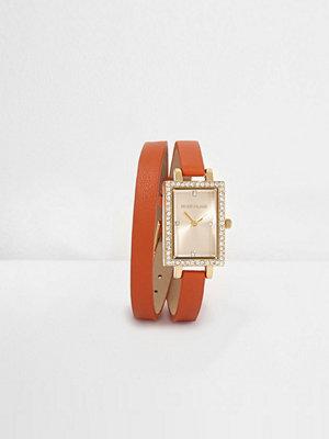 River Island Orange double wrap rectangle face watch