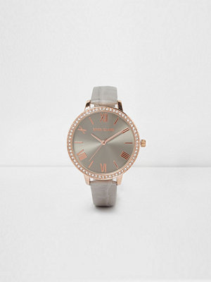 River Island Grey croc embossed strap round face watch