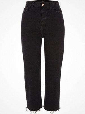 River Island Petite Black frayed Bella straight leg jeans