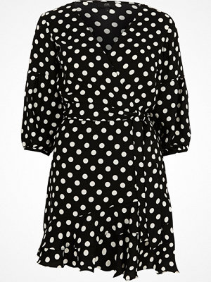 River Island Petite Black polka dot wrap frill mini dress