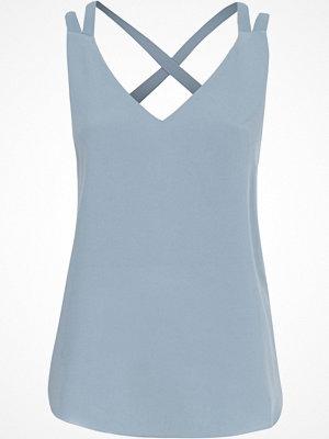 Linnen - River Island Petite Blue double strap cross back vest