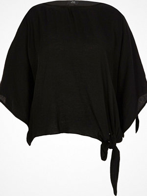 River Island Black knot hem loose fit T-shirt