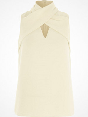 River Island White wrap neck sleeveless top