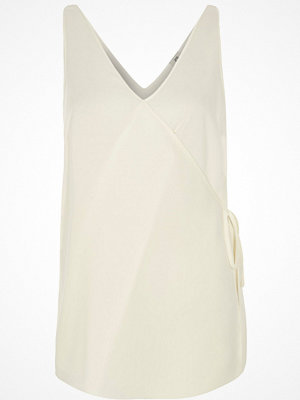 Linnen - River Island White wrap front V neck vest top