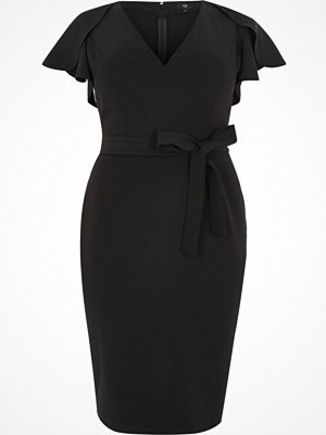 River Island Plus Black frill split sleeve tie midi dress