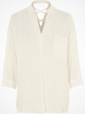 River Island White cross back blouse