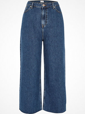 River Island Dark Blue Alexa cropped wide leg jeans