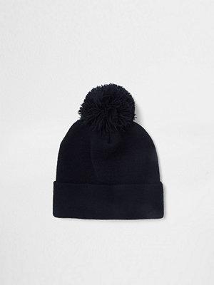 River Island Navy bobble beanie hat