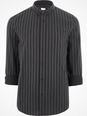 River Island Black stripe long sleeve button-down shirt