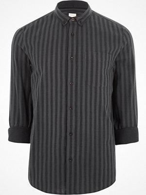 River Island Black stripe long sleeve button-down shirt