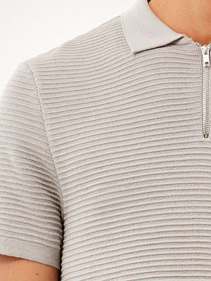 River Island Grey zip neck ribbed polo shirt