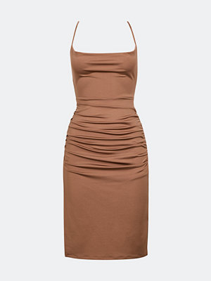 Bik Bok Ninia klänning med knytband - Brun