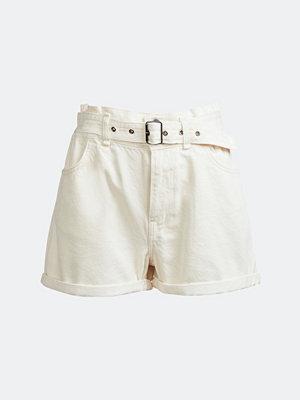 NEVER DENIM Natural paper bag denim shorts - Vit