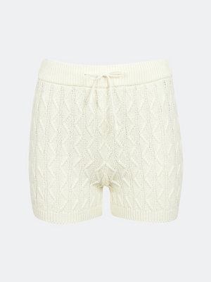 Bik Bok Shake kabelstickade shorts - Cremefärg
