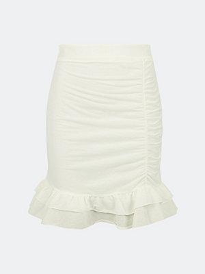 Bik Bok Enchanted kjol med volangavslut - Vit