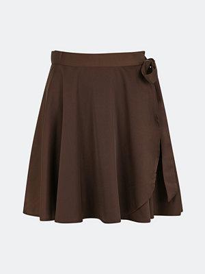 Bik Bok As you want-kjol i satin - Brun