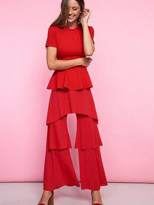 Gina Tricot röda byxor Jasmine frill trousers