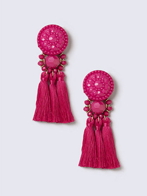 Gina Tricot örhängen Fuchsia Bead Tassel Drop Earrings