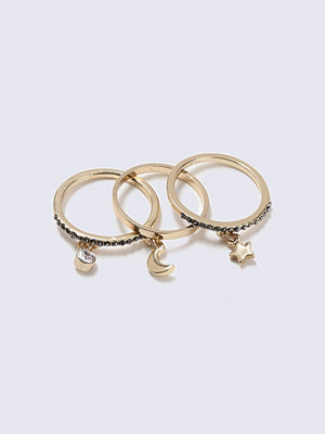 Gina Tricot Gold Star And Moon Charm Ring Pack