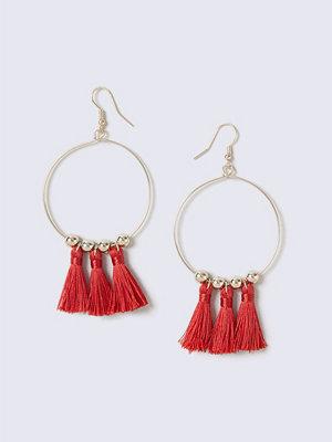 Gina Tricot örhängen Red Gold Hoop Tassel Earrings