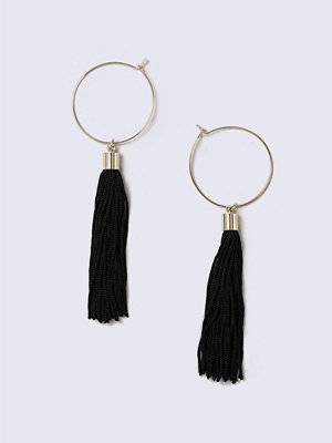 Gina Tricot örhängen Gold Look  Hoop Black Tassel Earrings