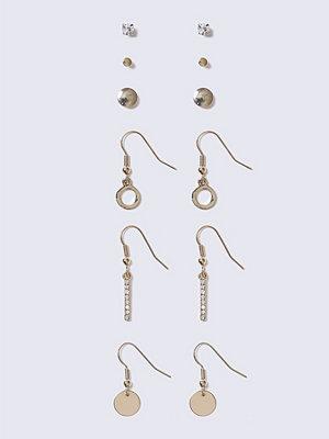 Gina Tricot örhängen Gold Rhinestone Drop Stud Earrings Pack